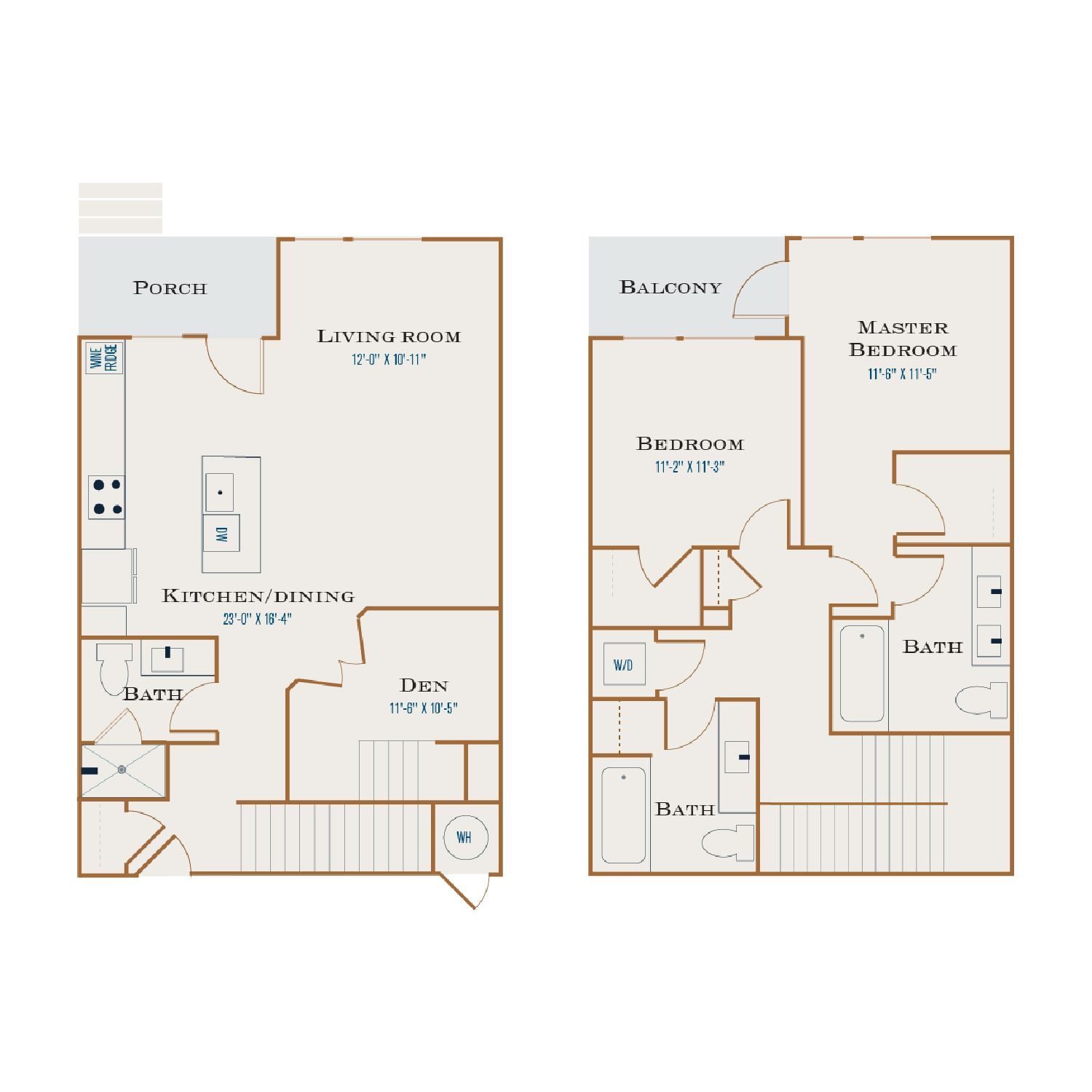 T H floor plan diagram. A two story townhome apartment with two bedrooms, three bathrooms, a den, an open kitchen and living area, a porch, a balcony, and a washer dryer.