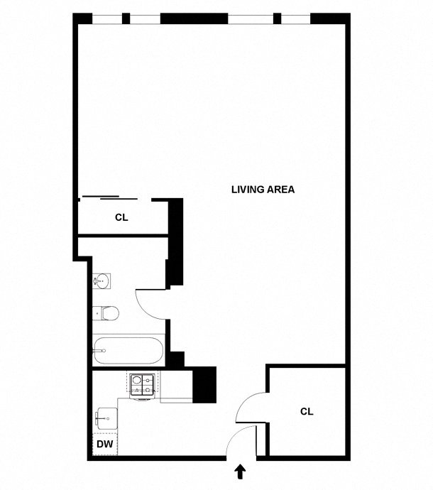 Studio apartment floor plan diagram with an open living area, one bathroom, and a kitchen.