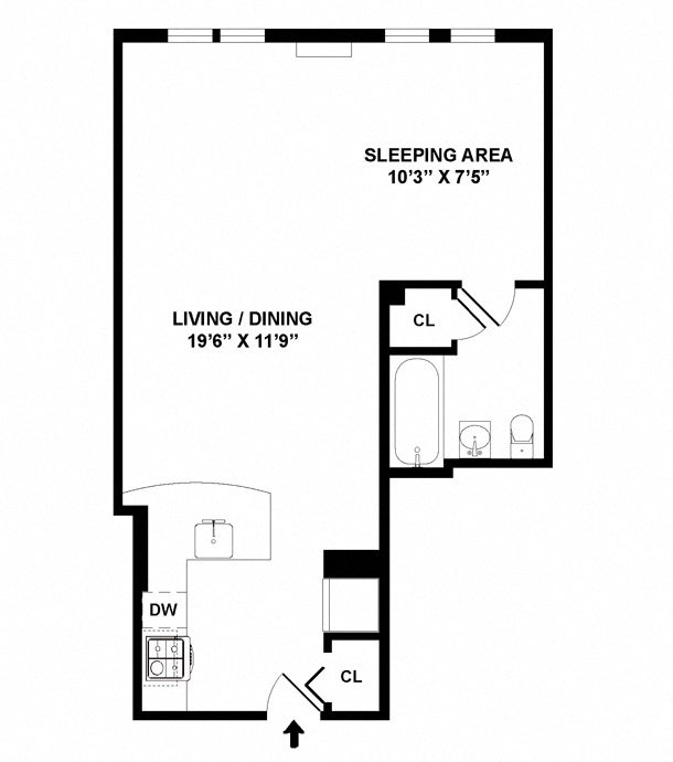 Studio floor plan diagram. An open living space with a sleeping area, a kitchen, and one bathroom.