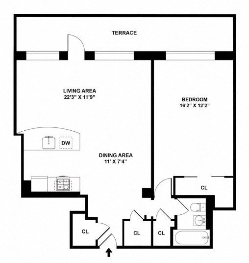Floor plan diagram. Penthouse apartment with one bedroom, one bathroom, an open kitchen dining and living area, and a large terrace.