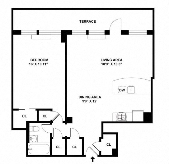 Penthouse floor plan diagram. One bedroom, one bathroom, an open kitchen dining and living area, and a large terrace.