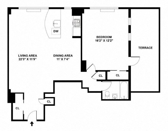 Floor plan diagram. One bedroom, one bathroom, an open living and dining area, and a terrace.