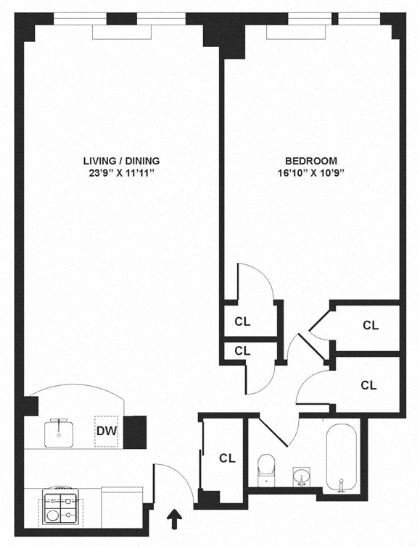 Apartment floor plan diagram. One bedroom, one bathroom, and an open kitchen and living area.