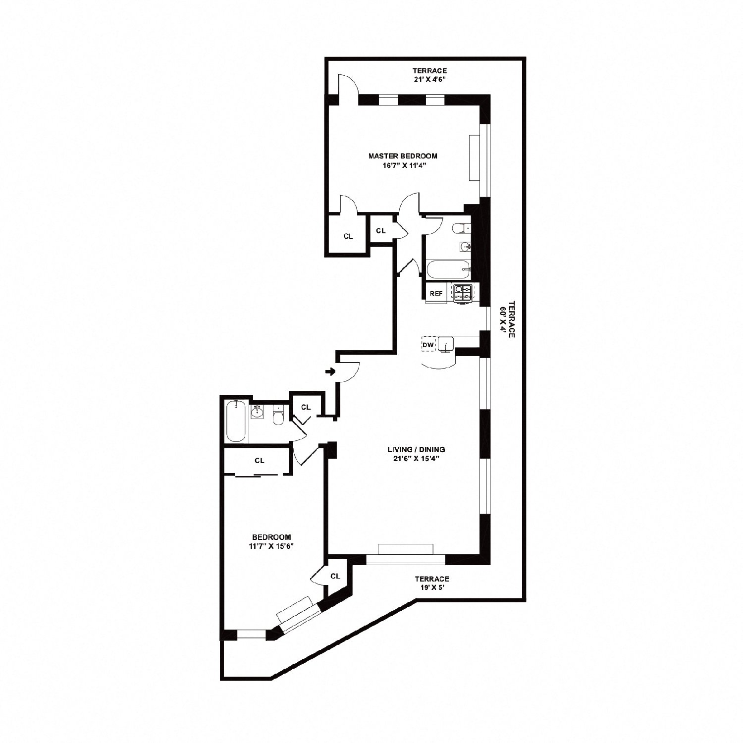 Floor plan diagram. Penthouse apartment with two bedrooms, two bathrooms, an open kitchen and living area, and a large wrap around terrace.