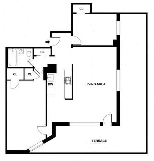 Apartment floor plan diagram. Two bedrooms, one bathroom, an open kitchen and living area, and a wrap around terrace.