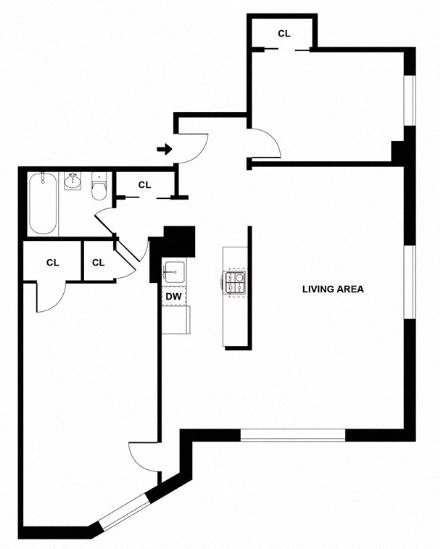 Apartment floor plan diagram. Two bedrooms, one bathroom, and an open kitchen and living area.