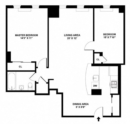 Apartment floor plan diagram. Two bedrooms, two bathrooms, and an open kitchen and living area.