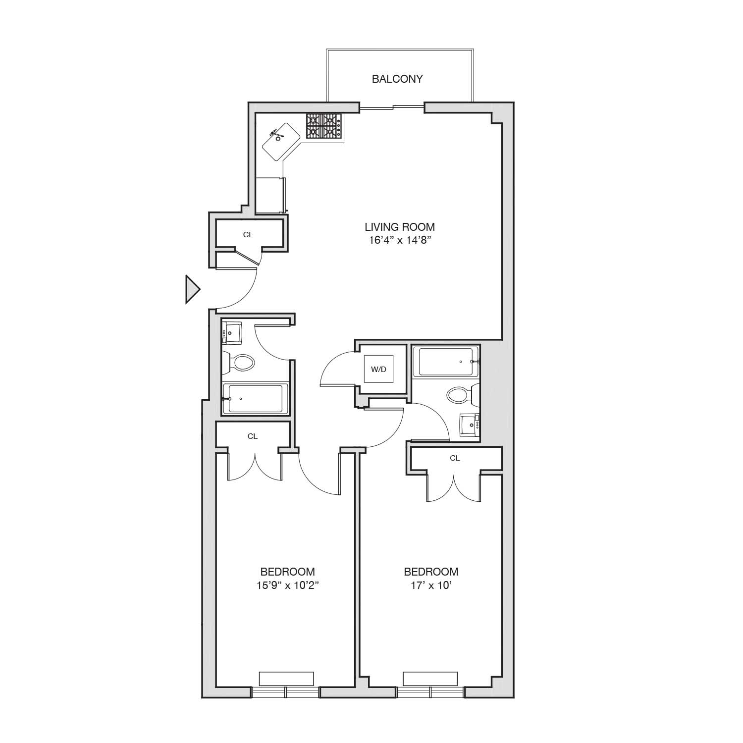 B 2 floor plan diagram. Two bedrooms, two bathrooms, an open living and kitchen area, a patio, and a washer dryer.