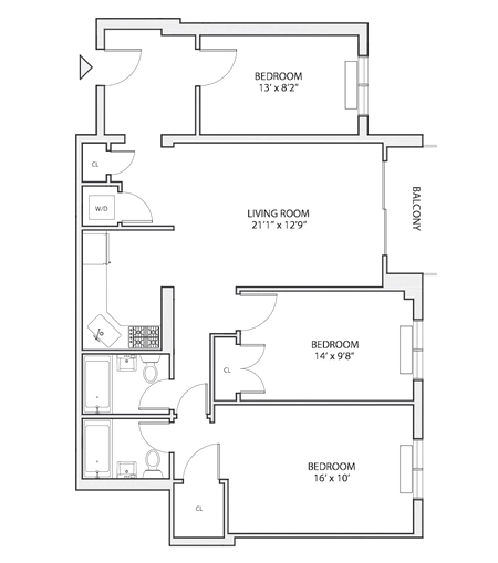C 2 floor plan diagram. Three bedrooms, two bathrooms, an open living and kitchen area, a patio, and a washer dryer.
