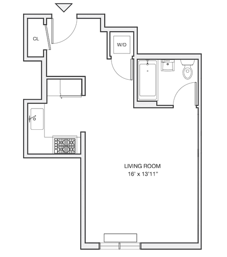 S 1 floor plan diagram. A studio apartment with an open kitchen and living space, one bathroom, and a washer dryer.