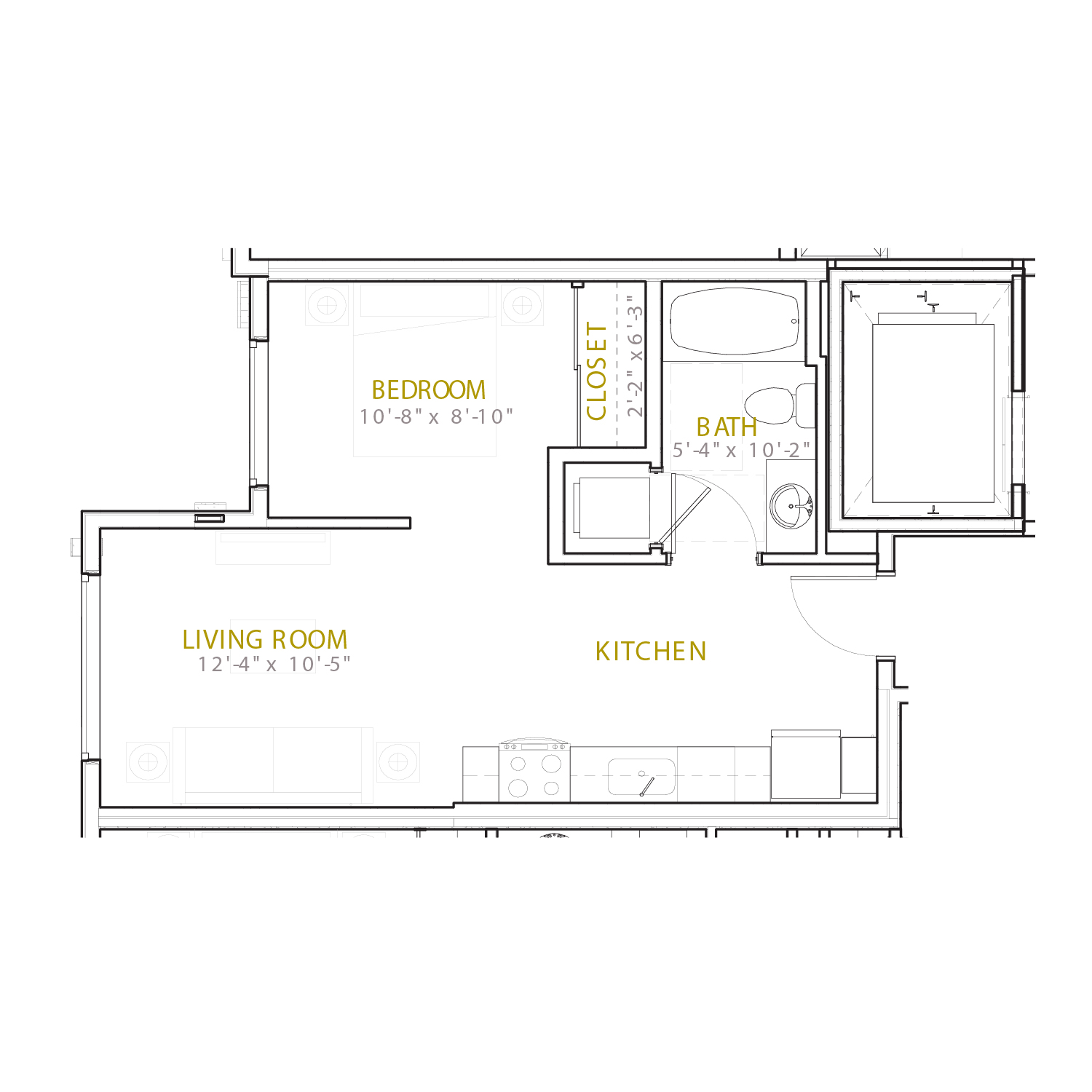 A Two floor plan diagram. A studio apartment with one bathroom and an open kitchen and living space.