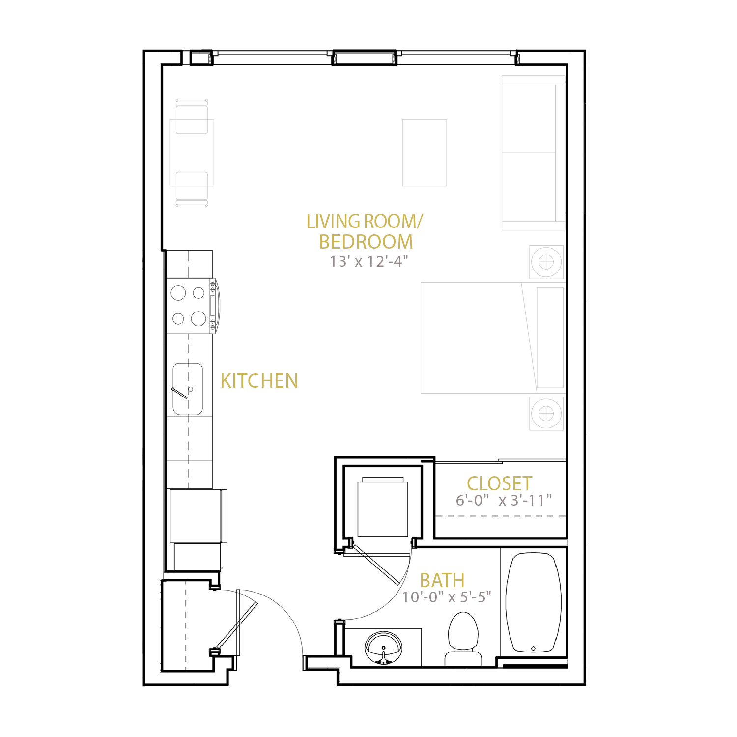 A Three floor plan diagram. A studio apartment with one bathroom and an open kitchen and living space.
