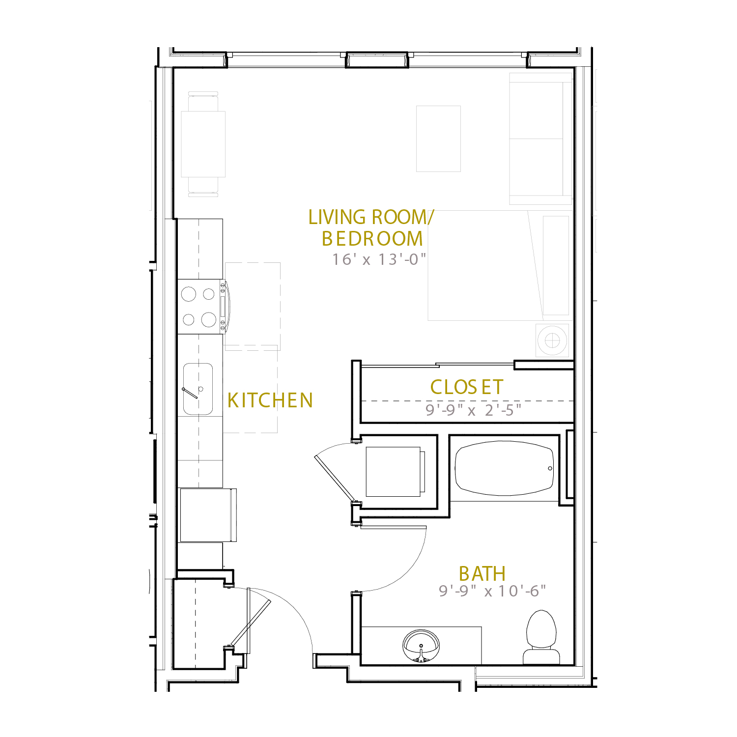 A Three A floor plan diagram. A studio apartment with one bathroom and an open kitchen and living space.