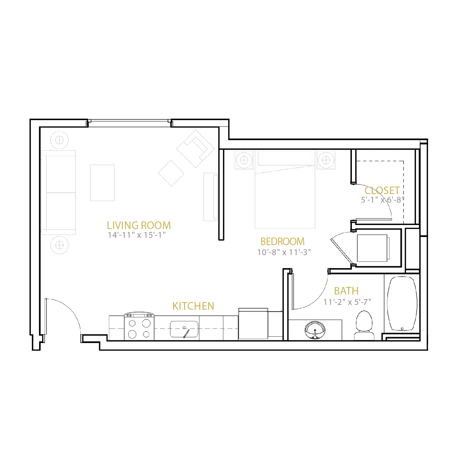 A Four floor plan diagram. A studio apartment with one bathroom and an open kitchen and living space.