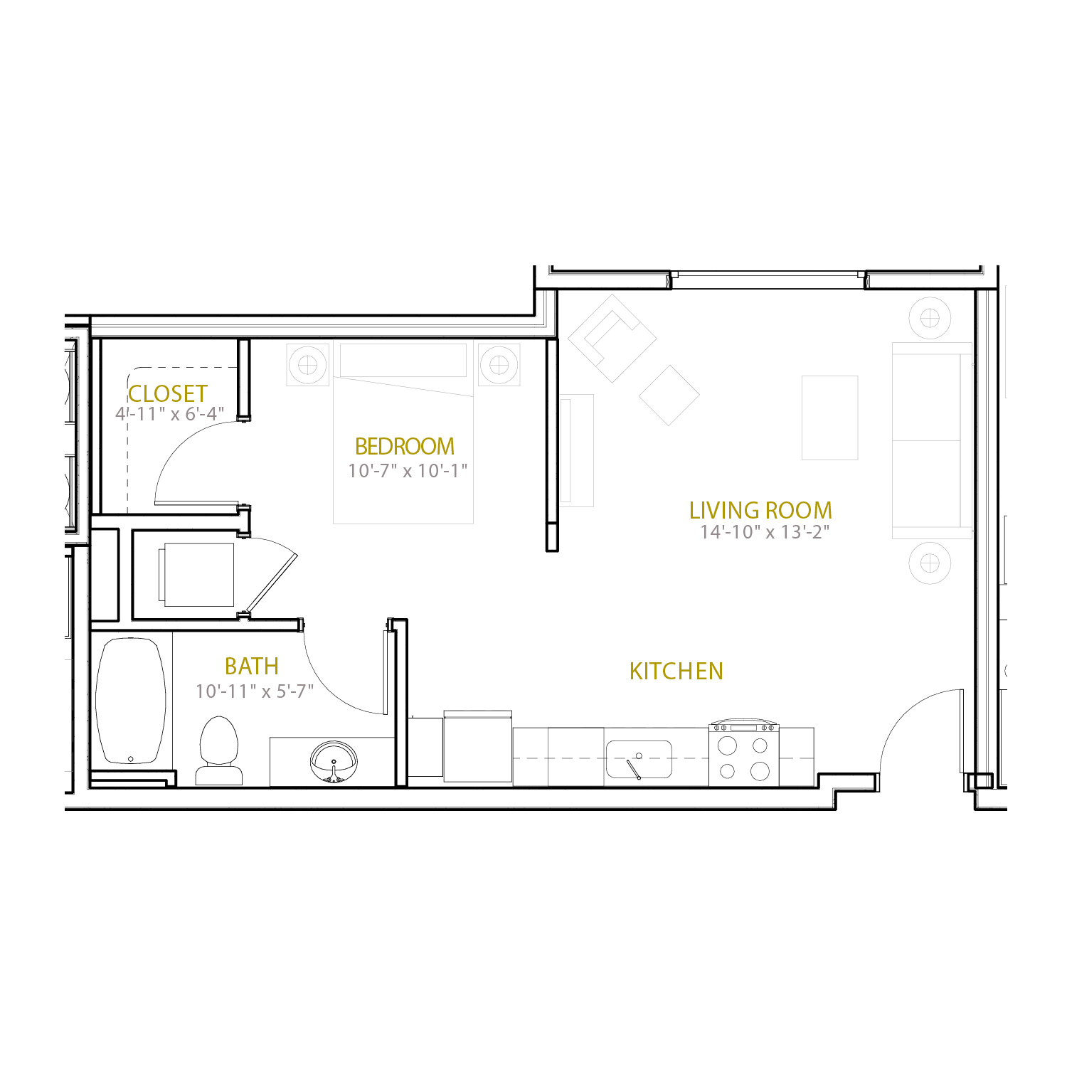 A Five floor plan diagram. A studio apartment with one bathroom and an open kitchen and living space.