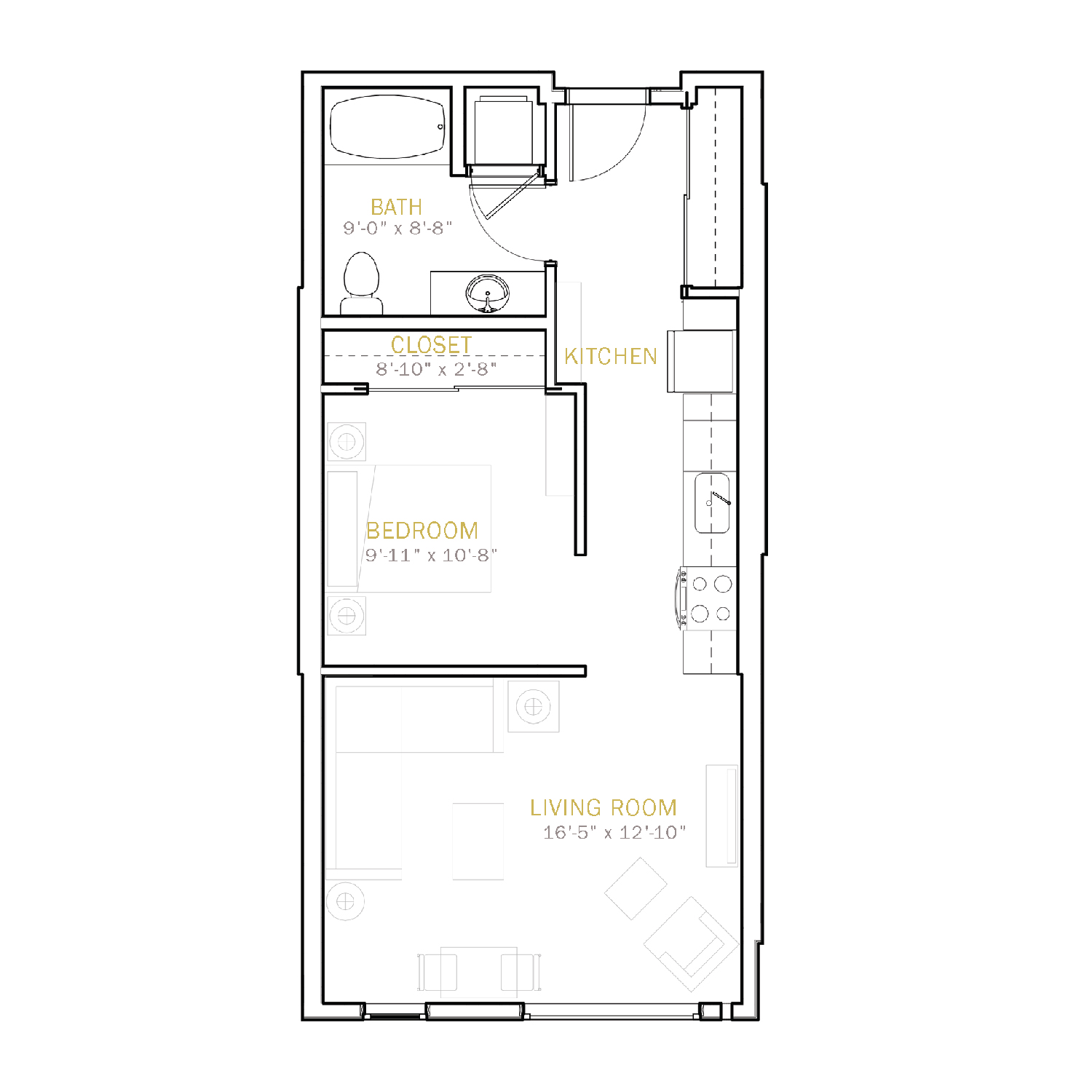 B One floor plan diagram. One bedroom, one bathroom, and an open kitchen and living area.