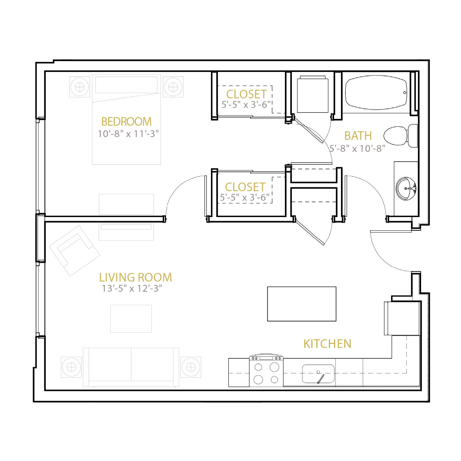 B Two floor plan diagram. One bedroom, one bathroom, and an open kitchen and living area.