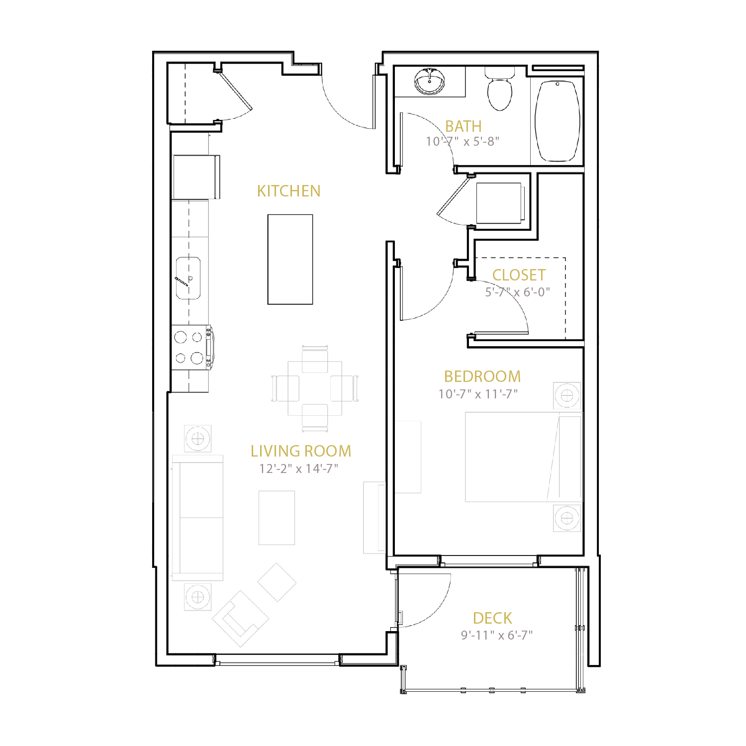 B Three floor plan diagram. One bedroom, one bathroom, an open kitchen and living area, and a deck.