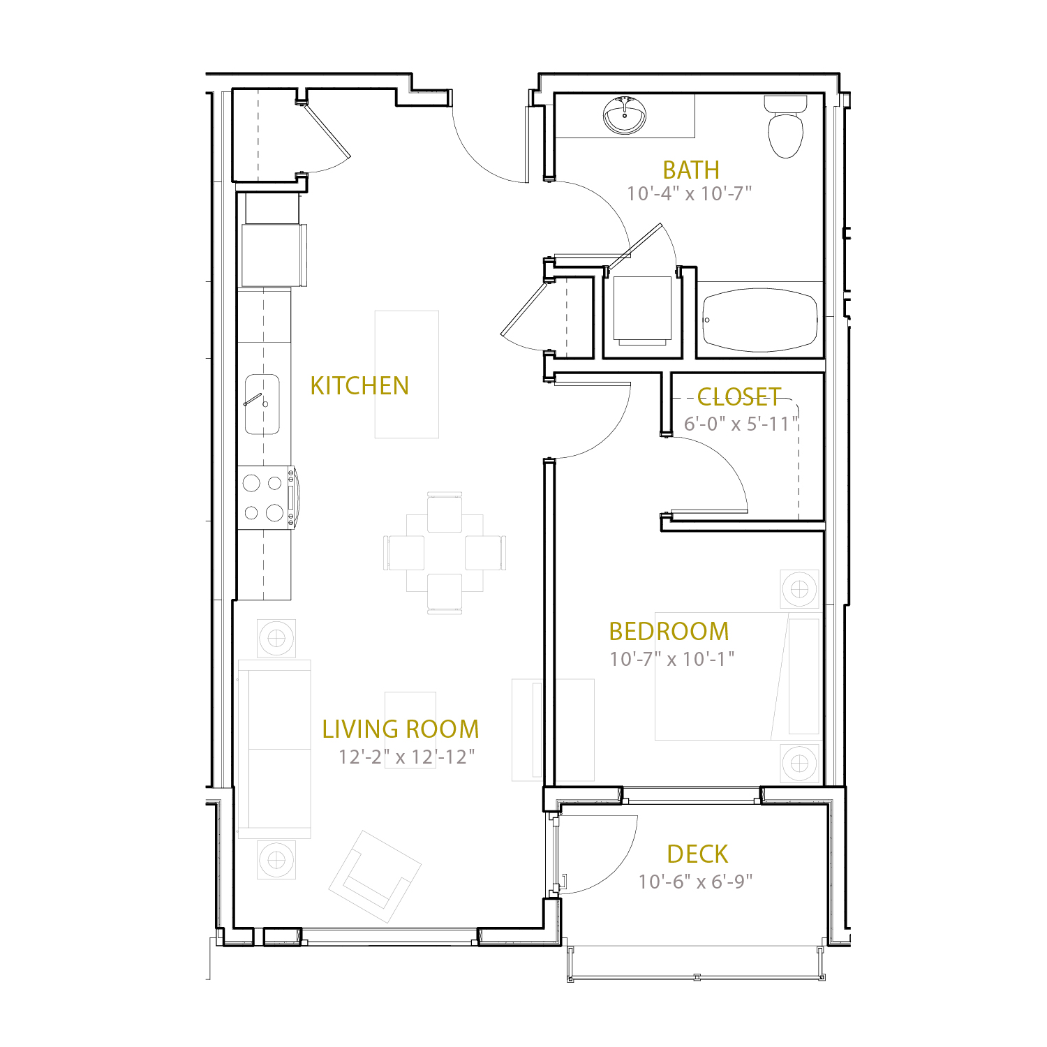 B Three A floor plan diagram. One bedroom, one bathroom, an open kitchen and living area, and a deck.