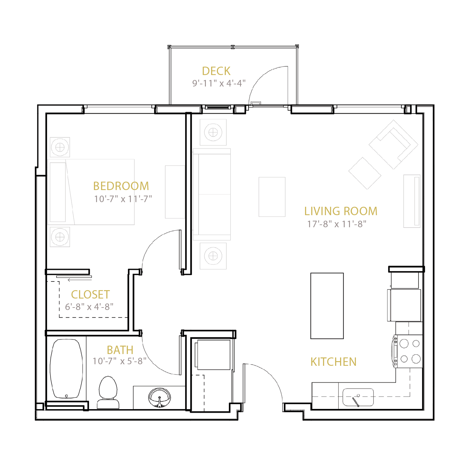 B Four floor plan diagram. One bedroom, one bathroom, an open kitchen and living area, and a deck.