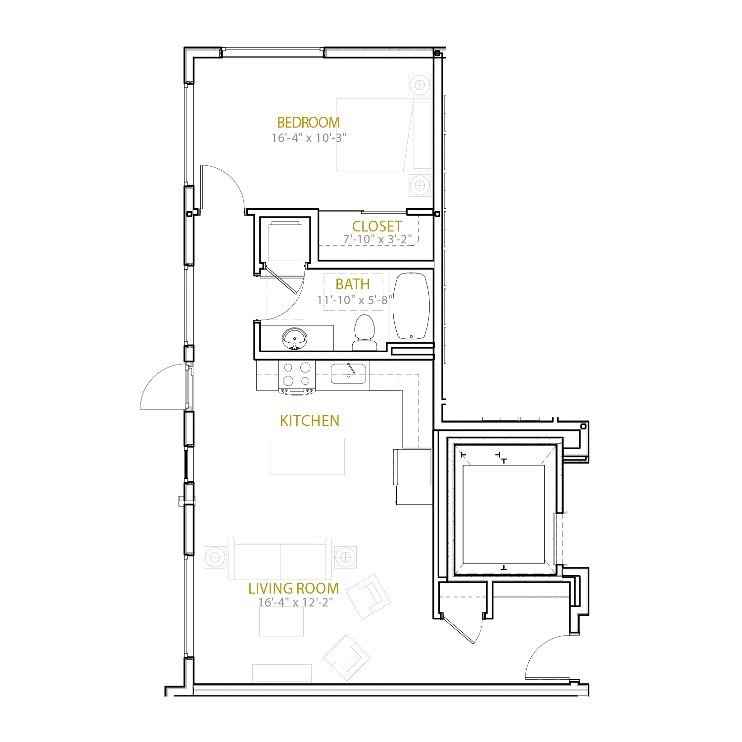 B Five floor plan diagram. One bedroom, one bathroom, and an open kitchen and living area.
