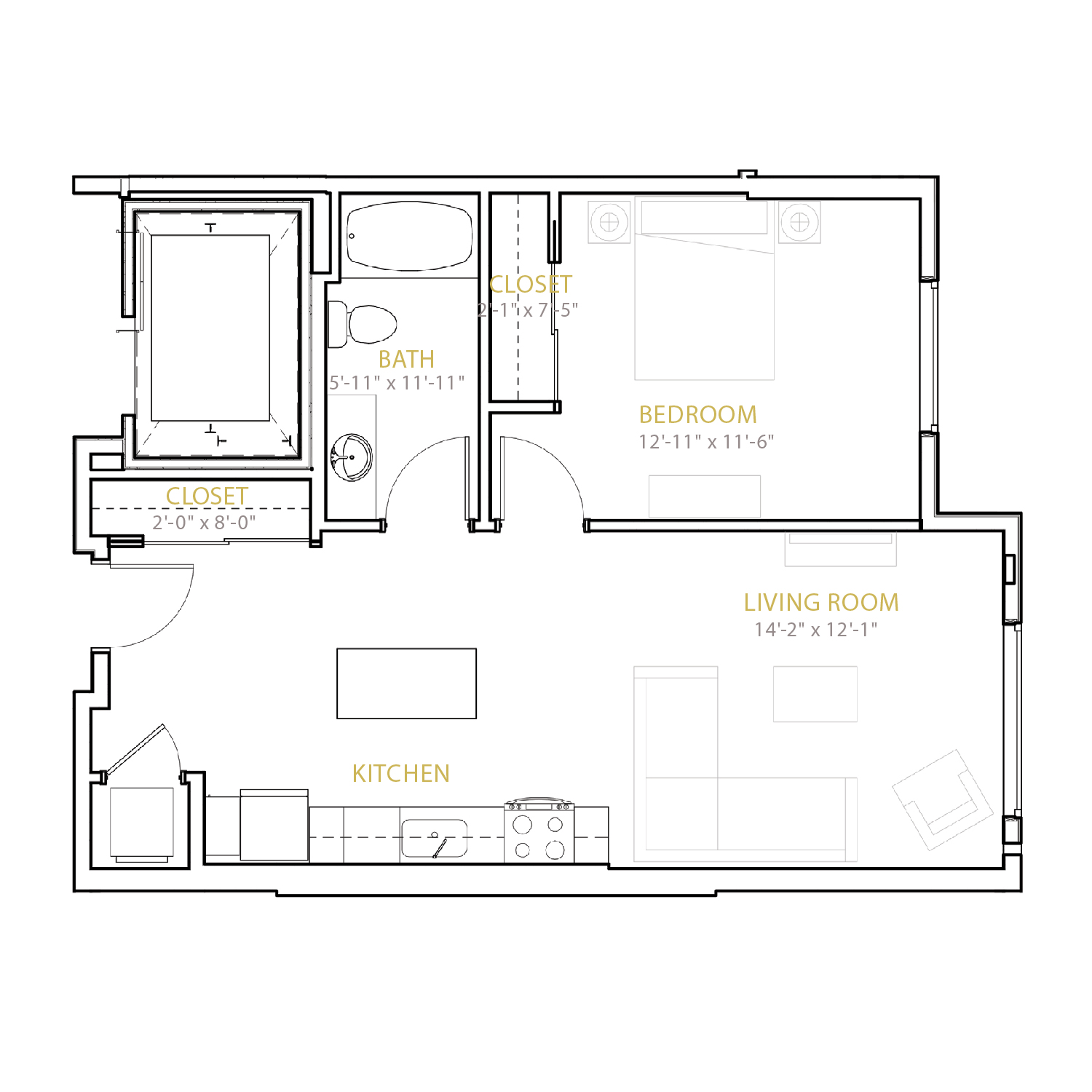 B Six floor plan diagram. One bedroom, one bathroom, and an open kitchen and living area.