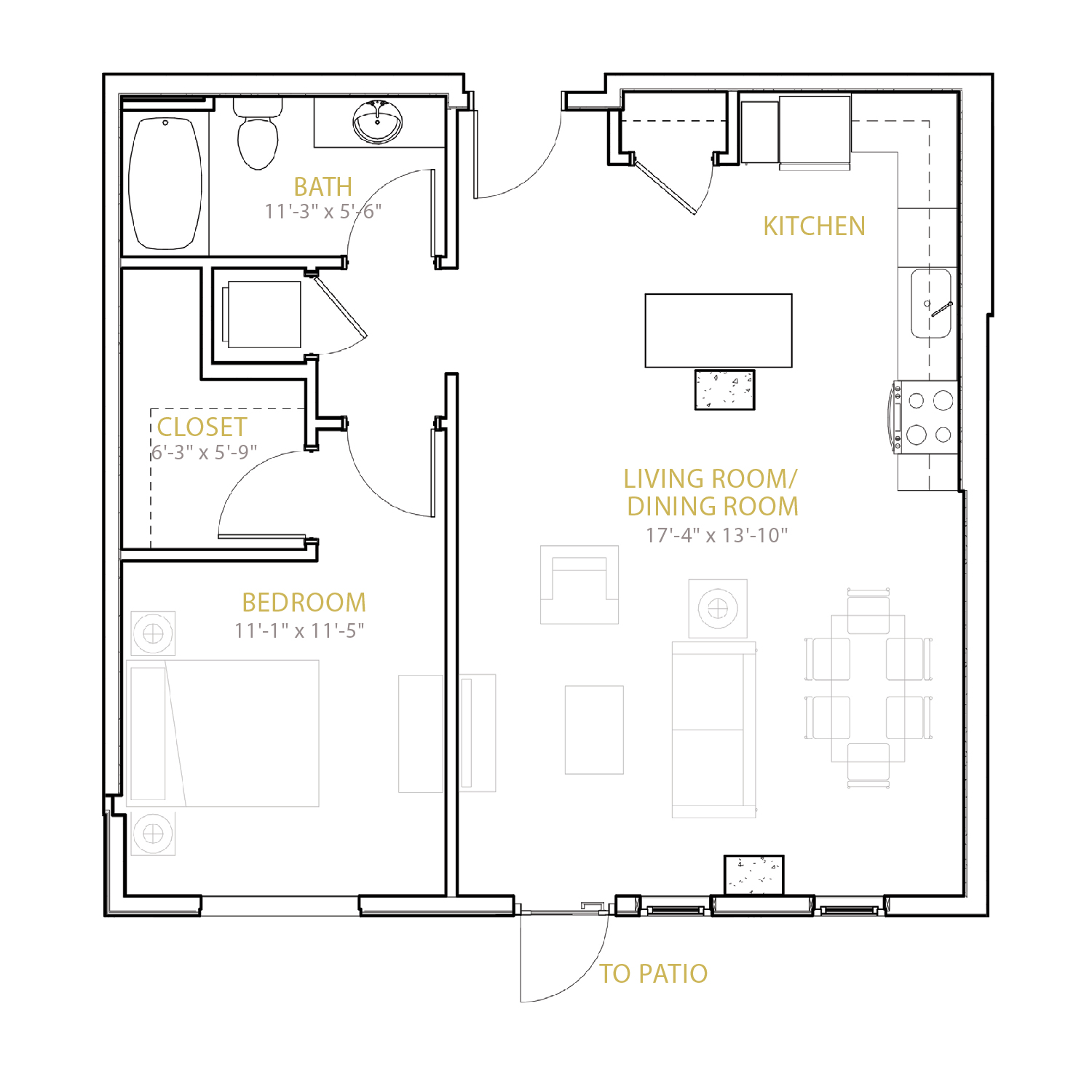 B Seven floor plan diagram. One bedroom, one bathroom, and an open kitchen and living area.