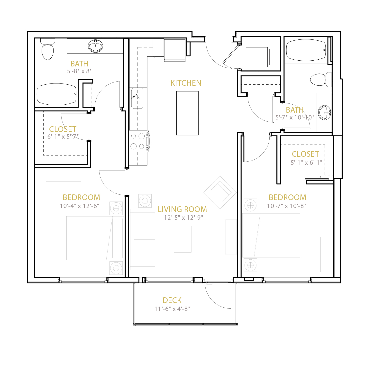C One floor plan diagram. Two bedrooms, two bathrooms, an open kitchen and living area, and a deck.