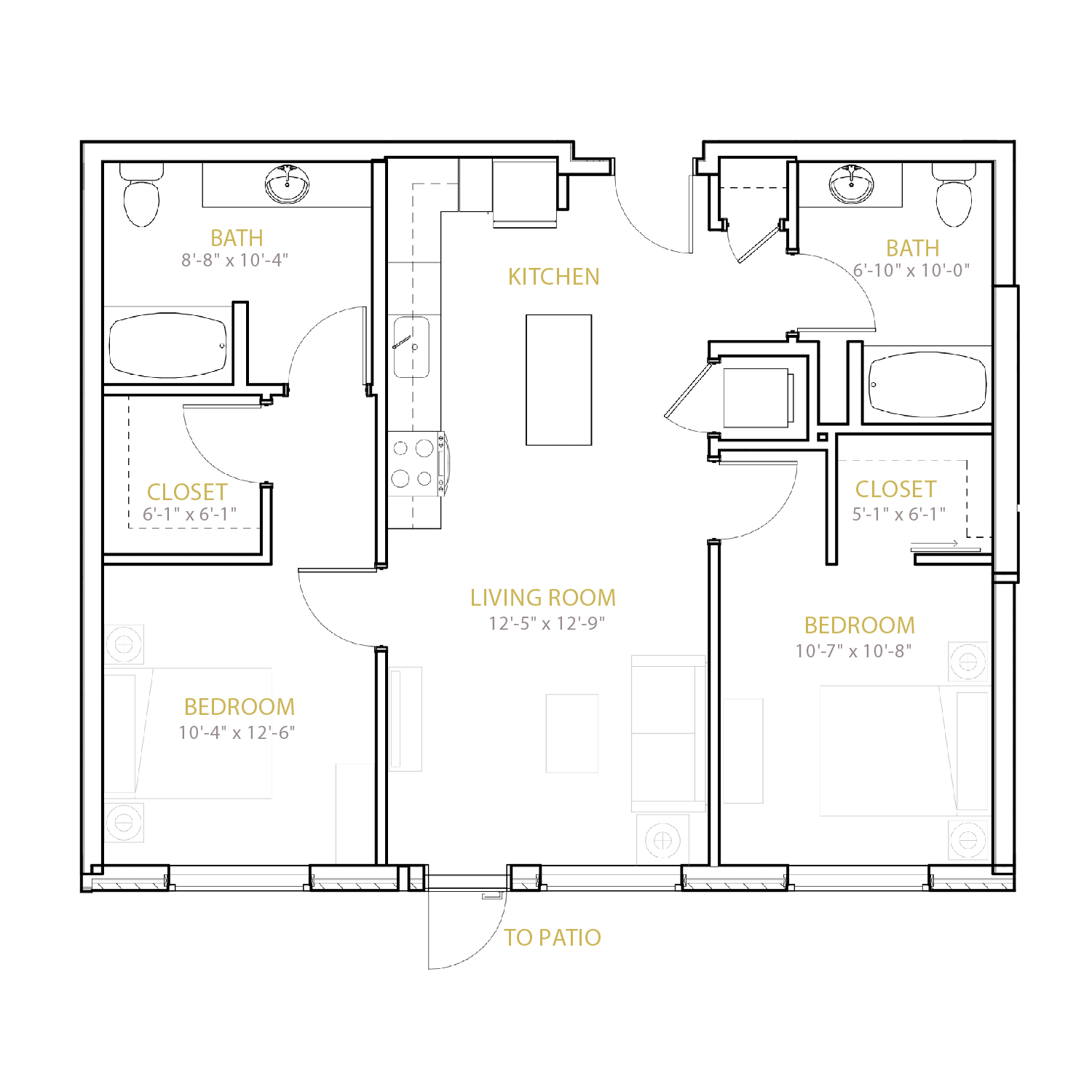 C One A floor plan diagram. Two bedrooms, two bathrooms, and an open kitchen and living area.