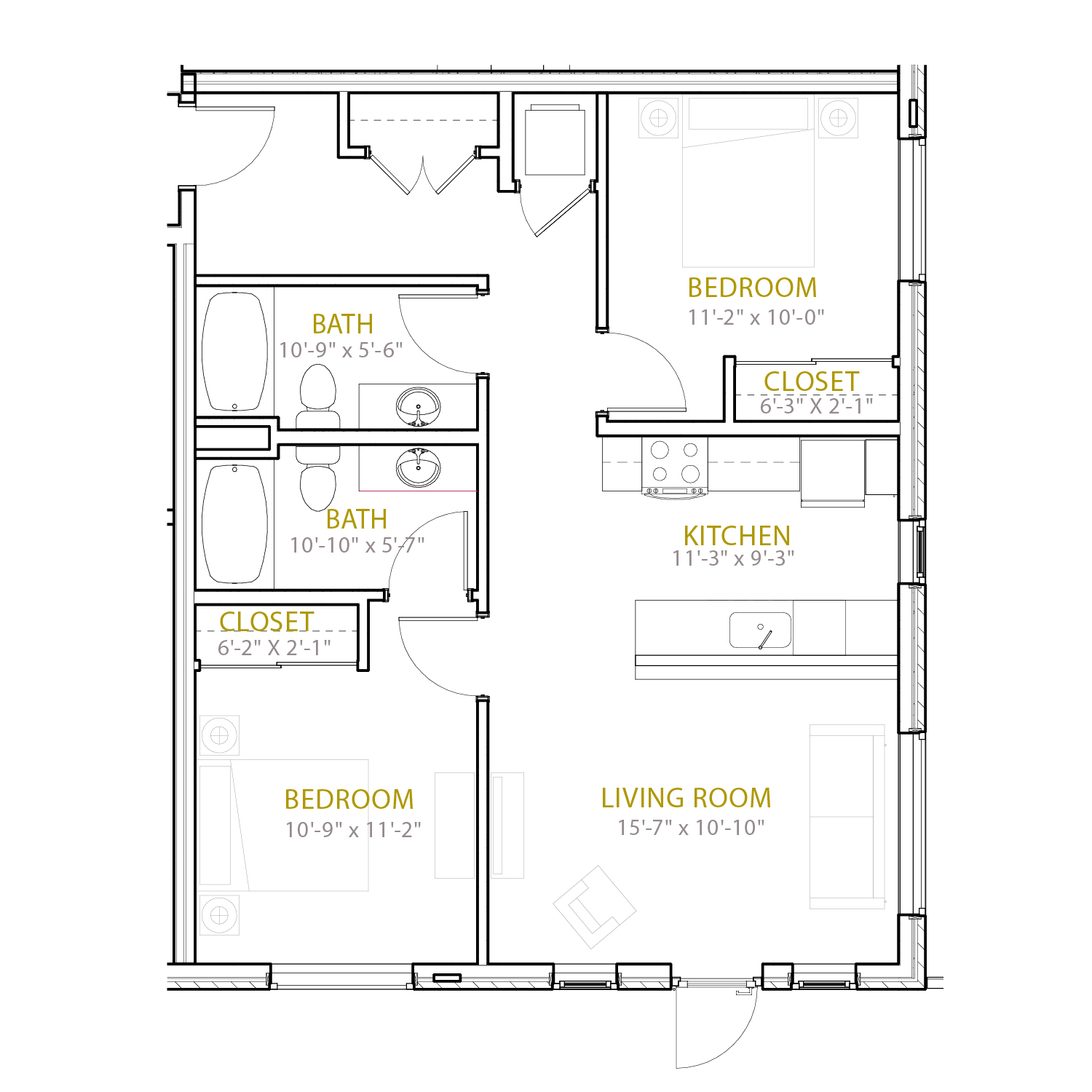 C Ten floor plan diagram. Two bedrooms, two bathrooms, and an open kitchen and living area.