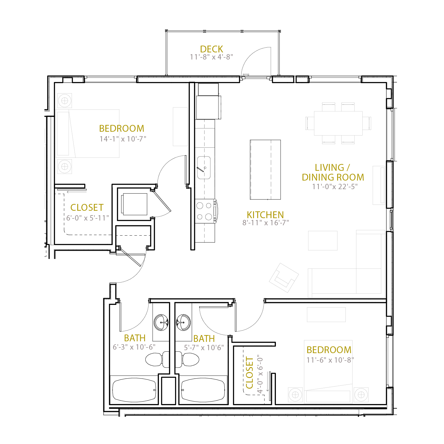 C Eleven floor plan diagram. Two bedrooms, two bathrooms, an open kitchen and living area, and a deck.