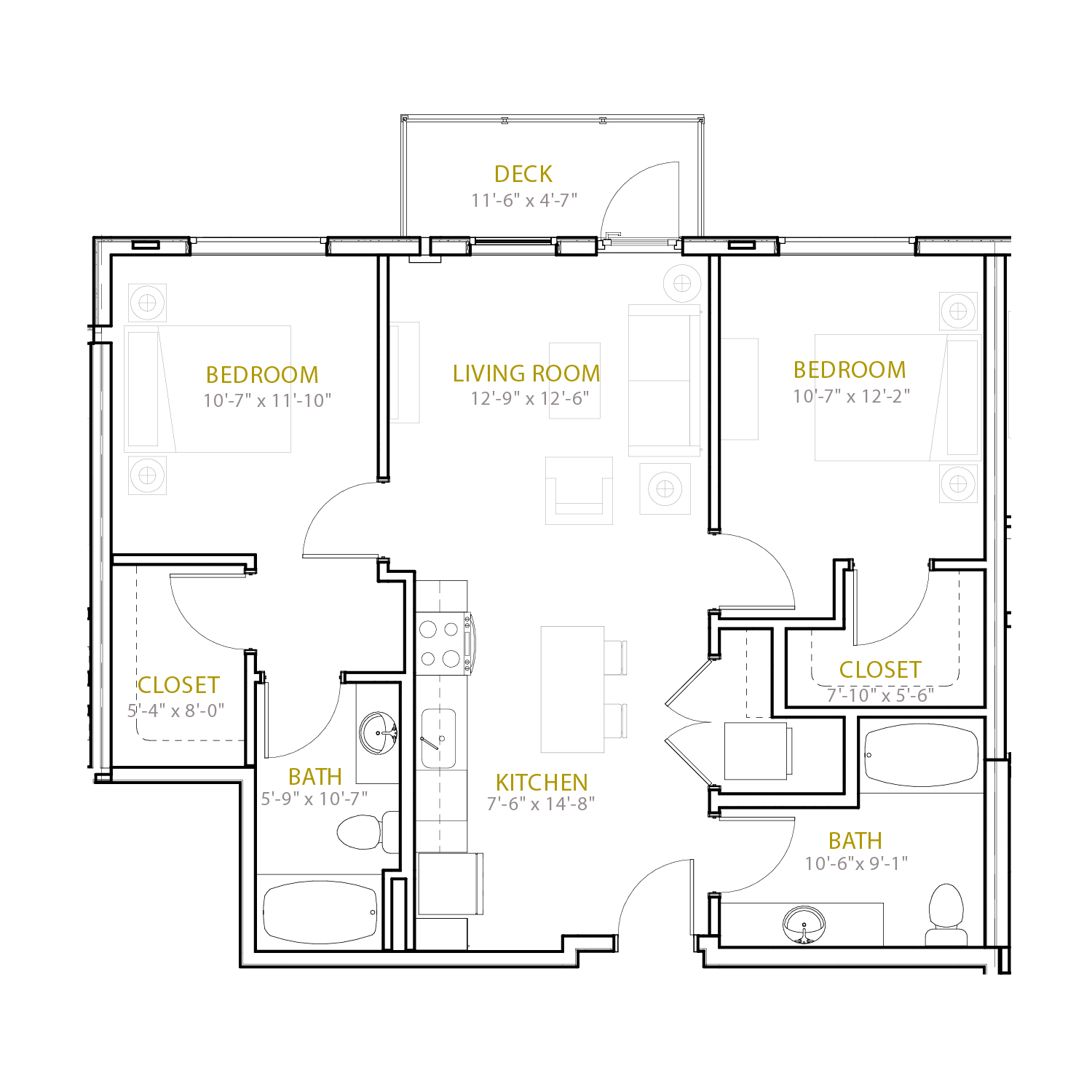 C Twelve floor plan diagram. Two bedrooms, two bathrooms, an open kitchen and living area, and a deck.