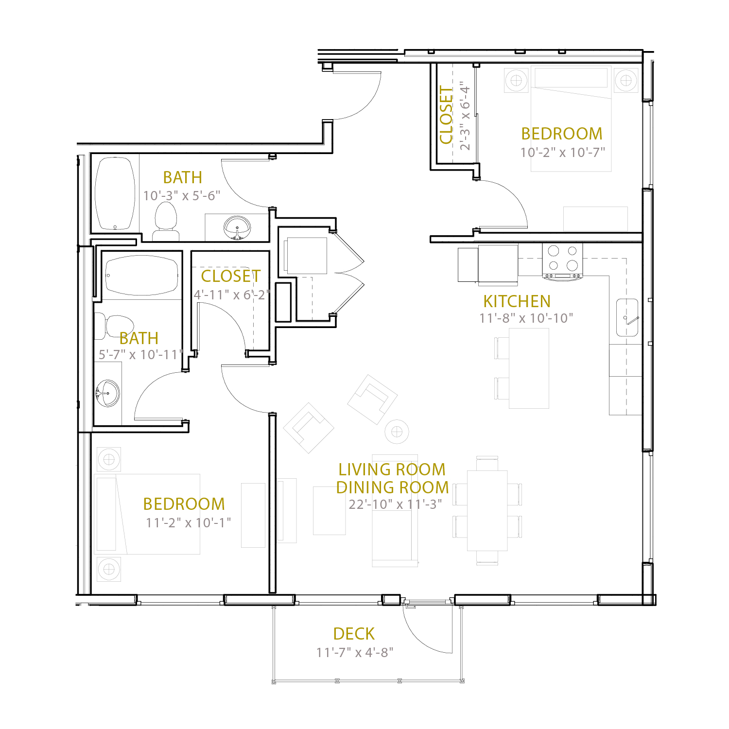 C Thirteen floor plan diagram. Two bedrooms, two bathrooms, an open kitchen and living area, and a deck.