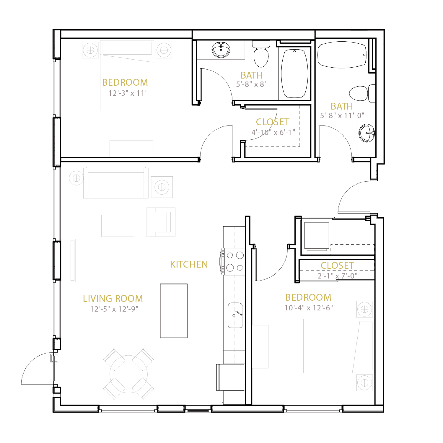 C Two floor plan diagram. Two bedrooms, two bathrooms, and an open kitchen and living area.