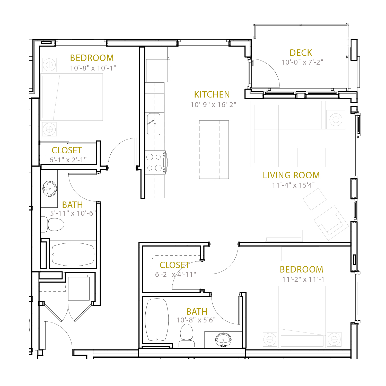 C Three floor plan diagram. Two bedrooms, two bathrooms, an open kitchen and living area, and a deck.