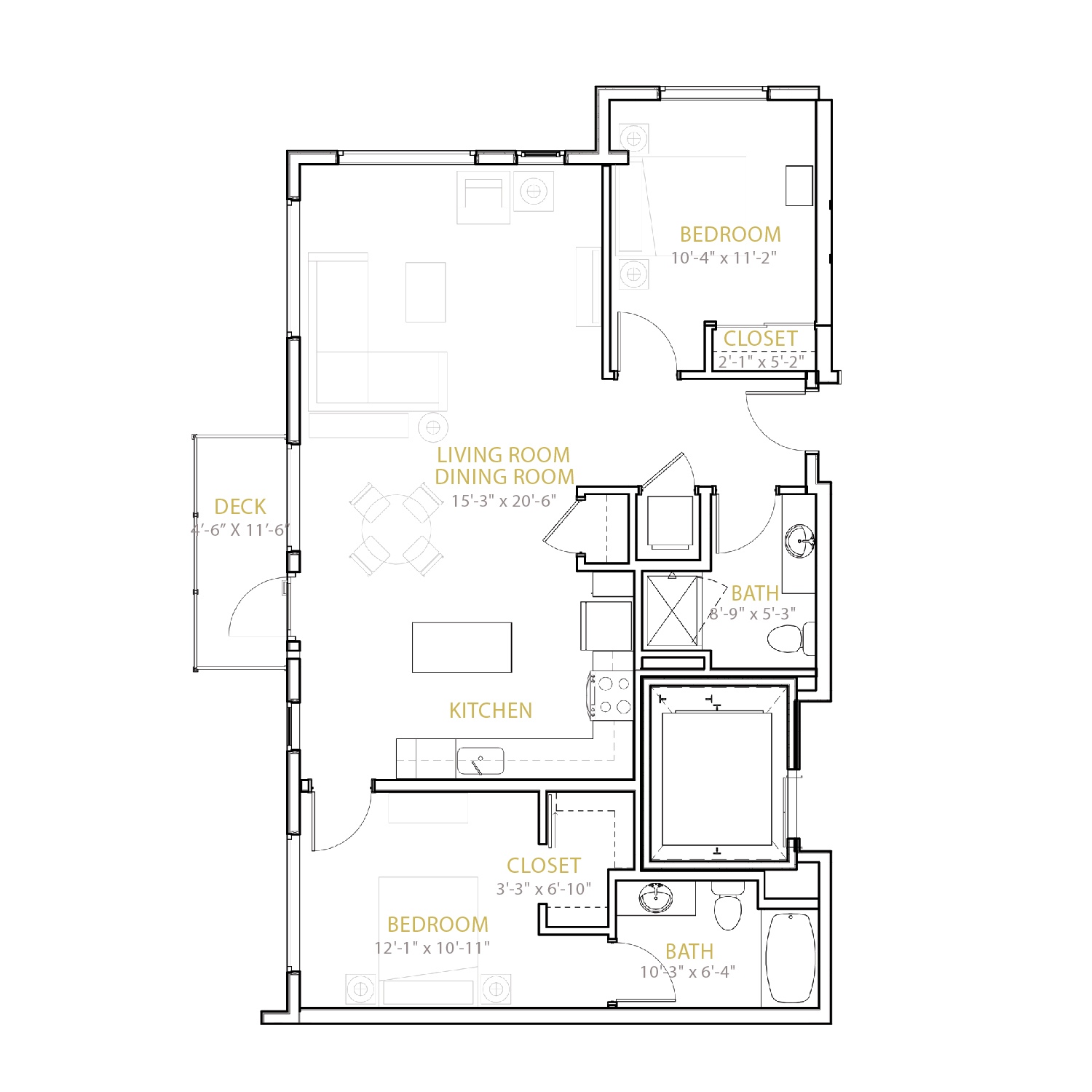 C Four floor plan diagram. Two bedrooms, two bathrooms, an open kitchen and living area, and a deck.