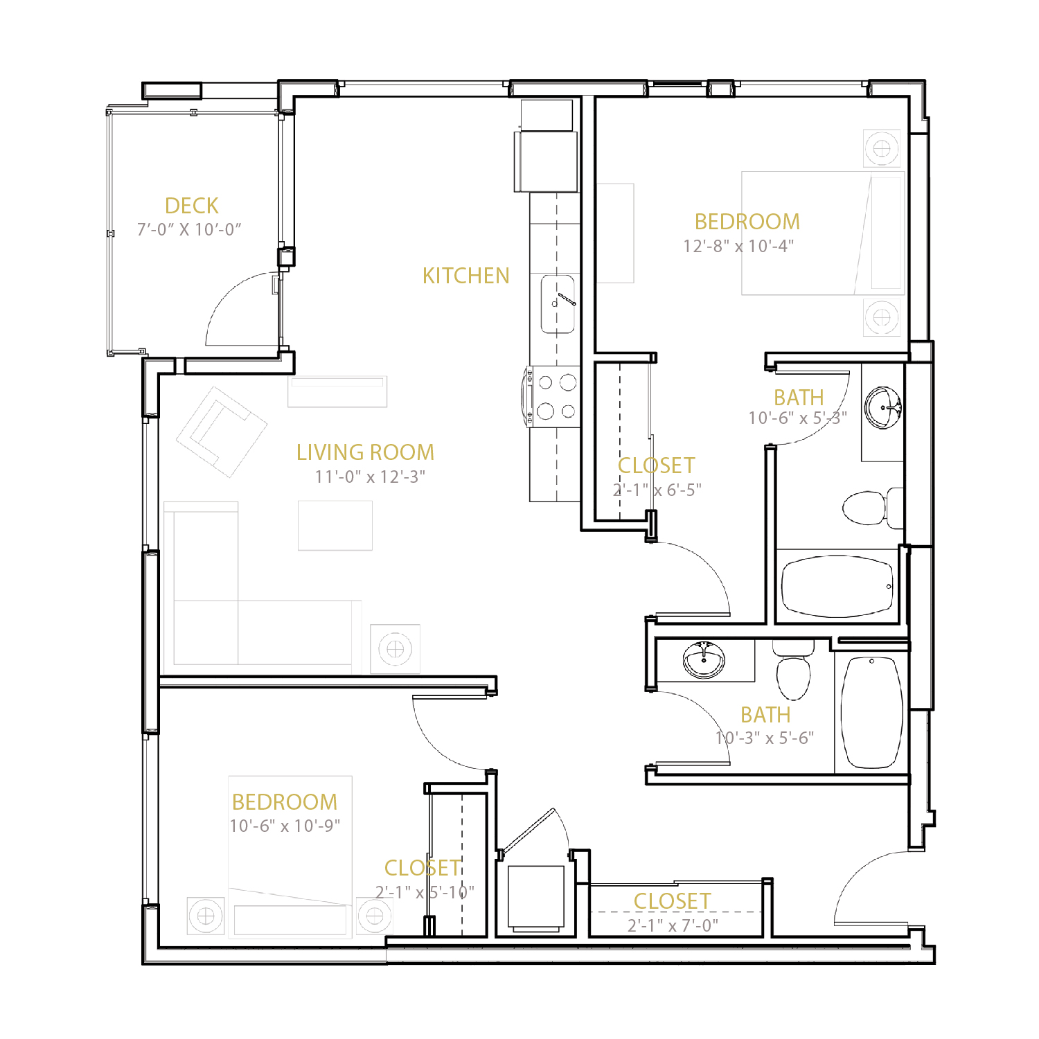 C Five floor plan diagram. Two bedrooms, two bathrooms, an open kitchen and living area, and a deck.