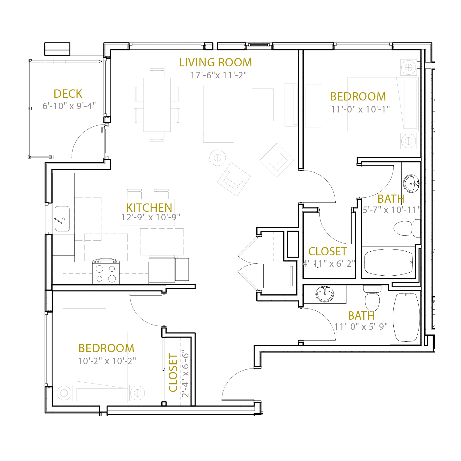 C Six floor plan diagram. Two bedrooms, two bathrooms, an open kitchen and living area, and a deck.
