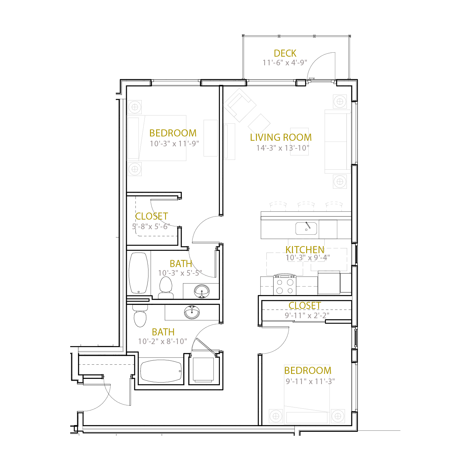 C Seven floor plan diagram. Two bedrooms, two bathrooms, an open kitchen and living area, and a deck.