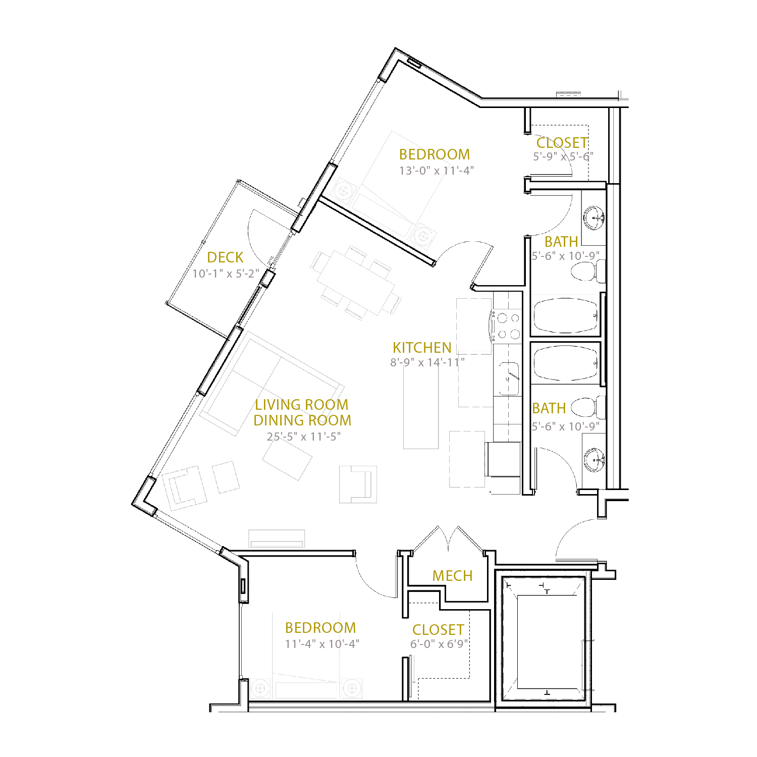 C Eight floor plan diagram. Two bedrooms, two bathrooms, an open kitchen and living area, and a deck.