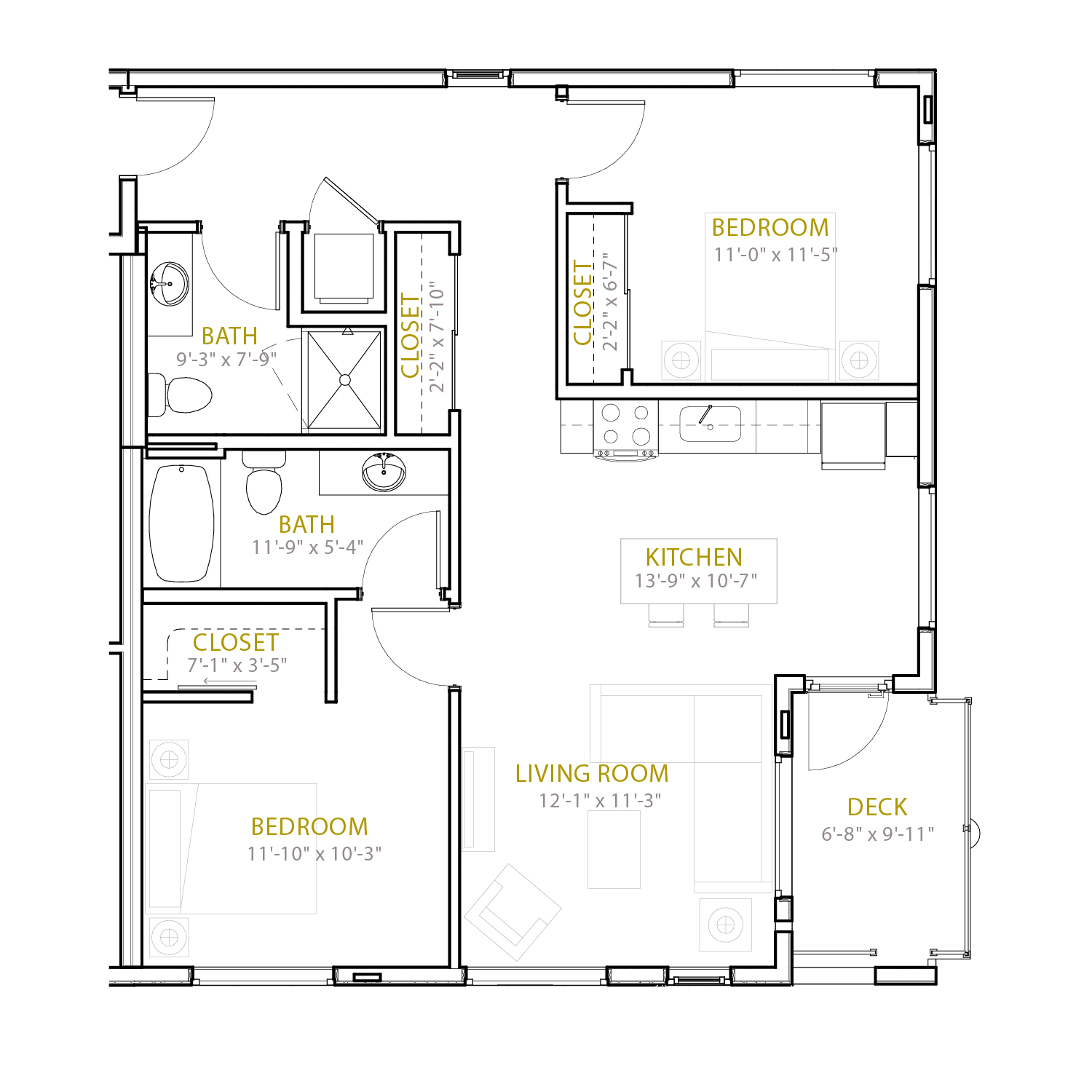 C Nine floor plan diagram. Two bedrooms, two bathrooms, an open kitchen and living area, and a deck.
