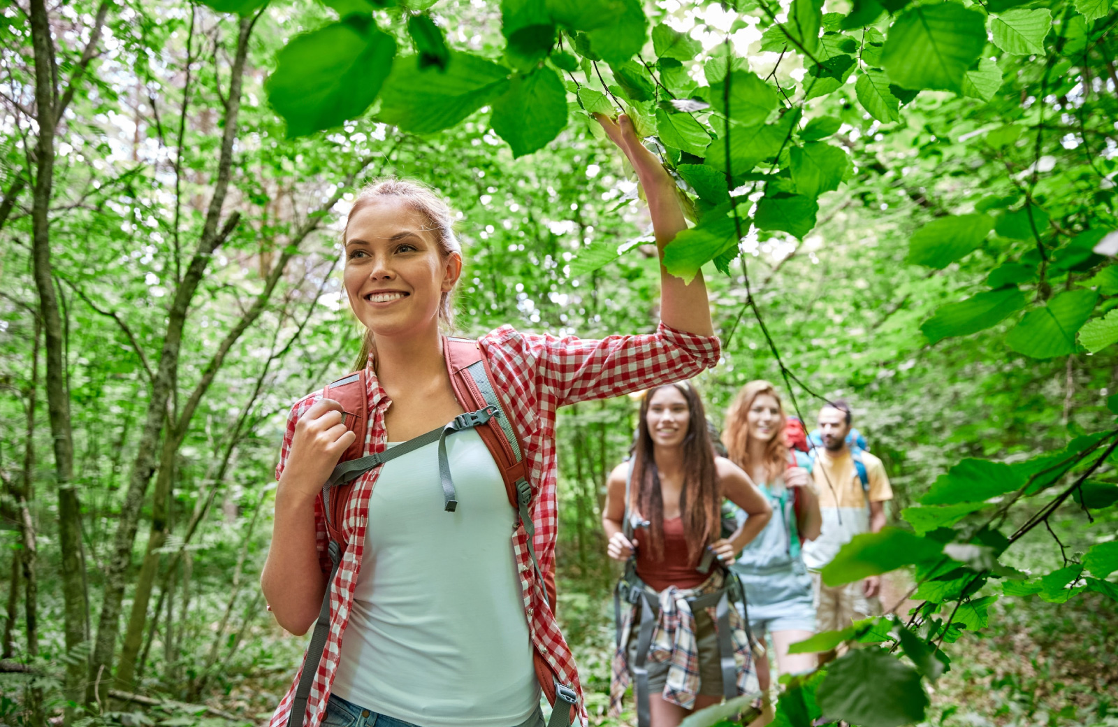 group of girls hiking