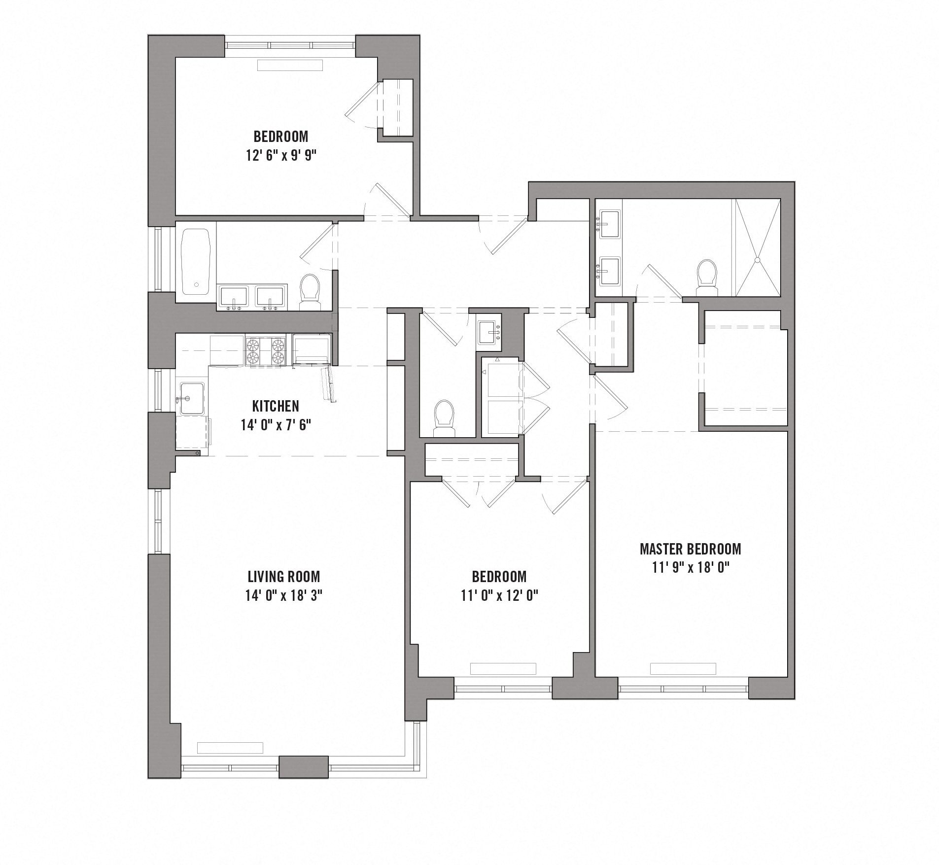 Floor plan diagram for unit PHB. 3 bedrooms, 2 bathrooms, kitchen, and living room.