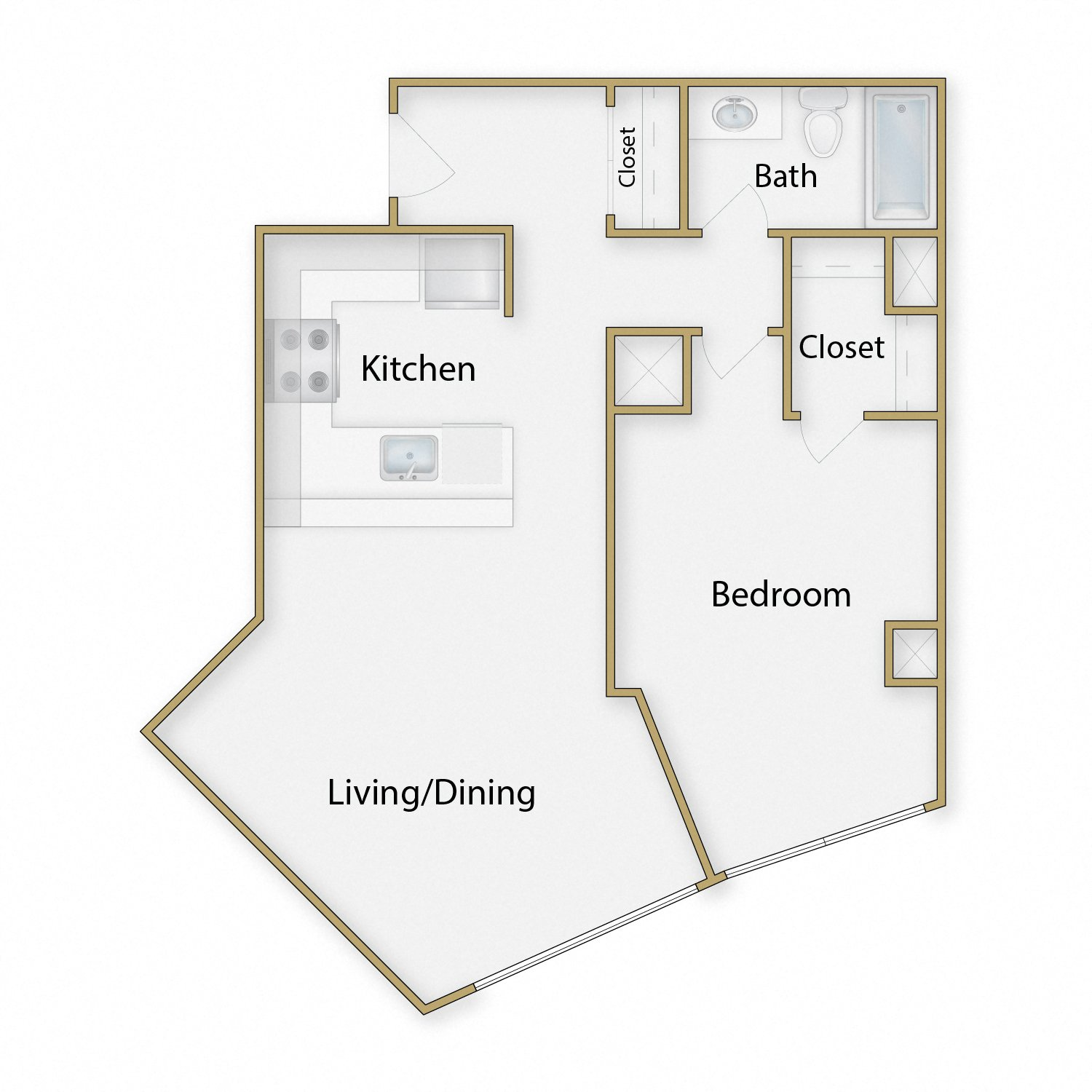 Marina floor plan diagram. One bedroom, one bathroom, and an open kitchen dining and living area.