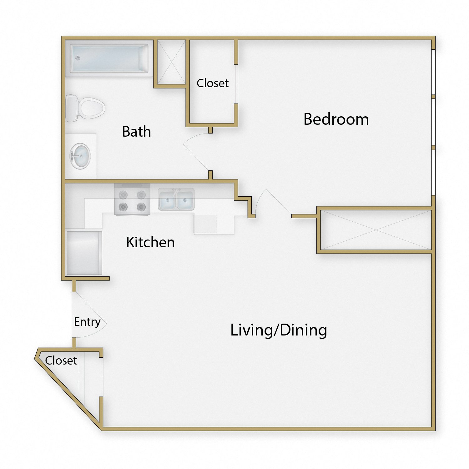 Wharf floor plan diagram. One bedroom, one bathroom, and an open kitchen dining and living area.