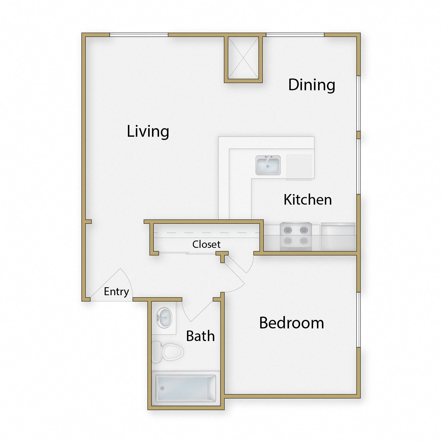 Berkley floor plan diagram. One bedroom, one bathroom, and an open kitchen dining and living area.