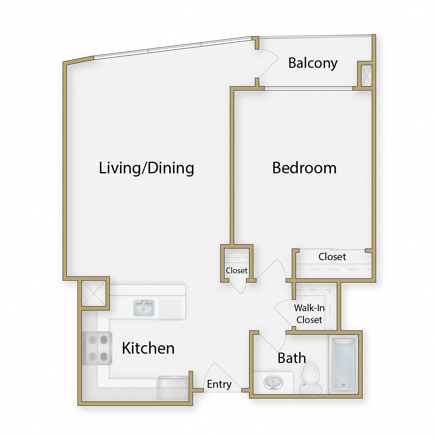 Golden Gate One floor plan diagram. One bedroom, one bathroom, an open kitchen dining and living area, and a balcony.
