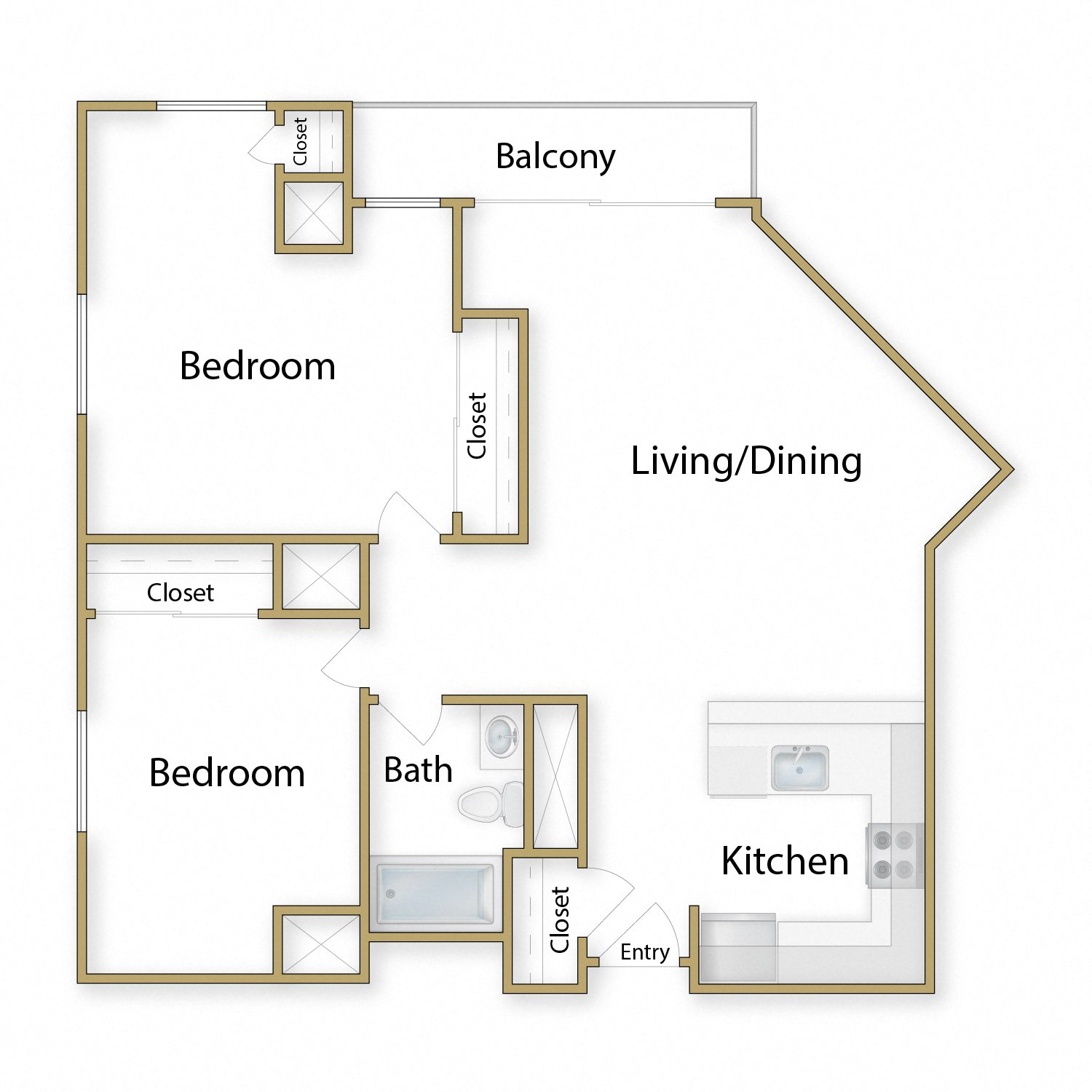 Pacifica floor plan diagram. Two bedrooms, one bathroom, an open kitchen dining and living area, and a balcony.