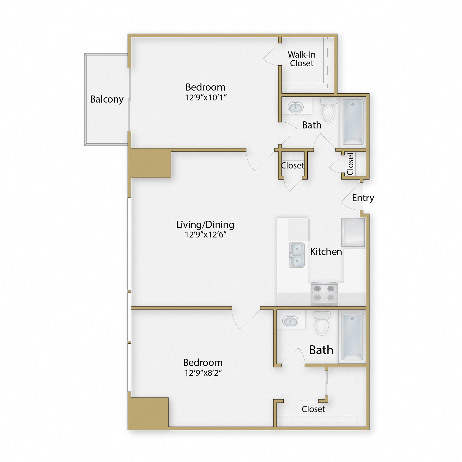 Treasure Island floor plan diagram. Two bedrooms, two bathrooms, an open kitchen dining and living area, and a balcony.