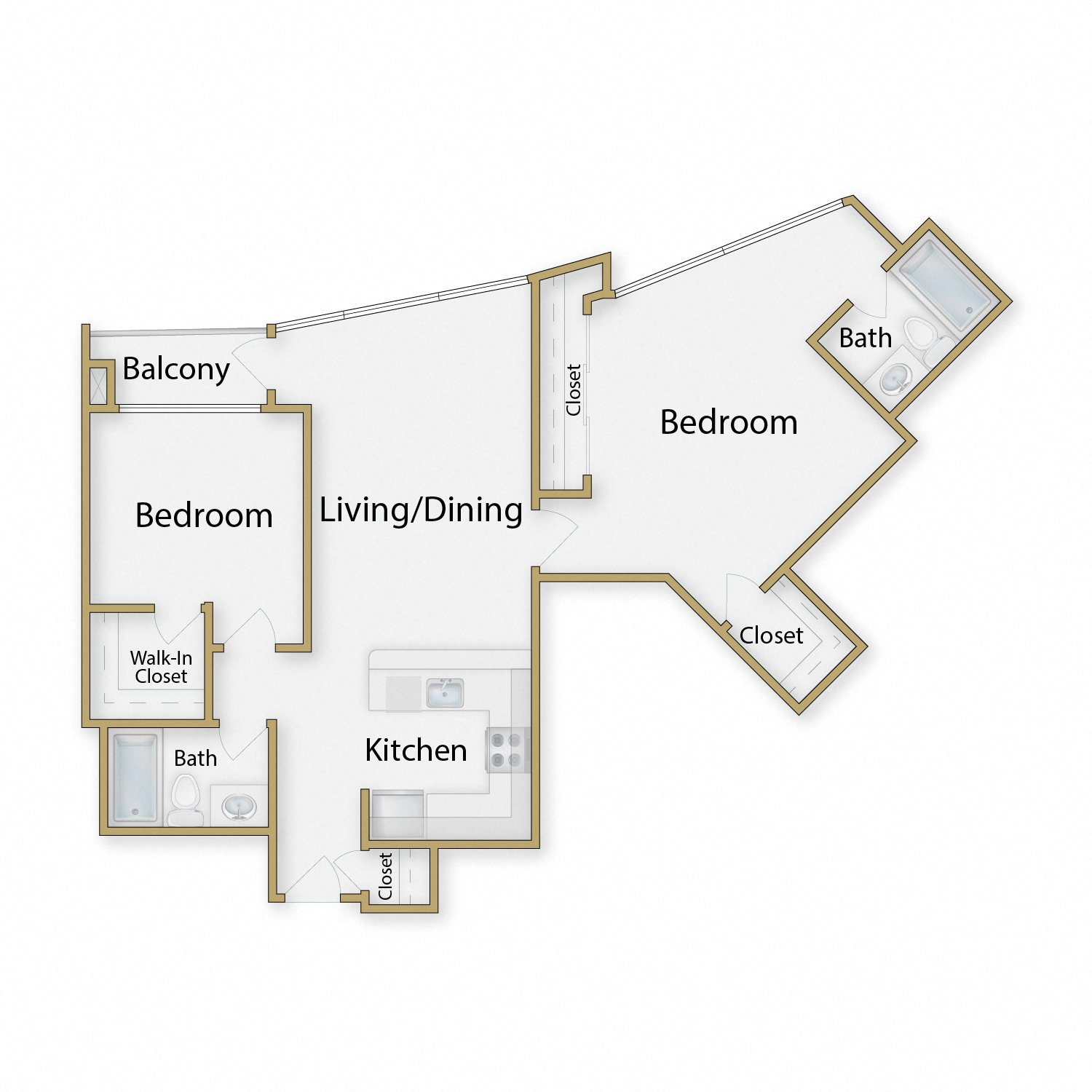 Presidio floor plan diagram. Two bedrooms, two bathrooms, an open kitchen dining and living area, and a balcony.